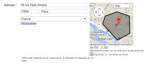 champ adresse et carte - zone créée