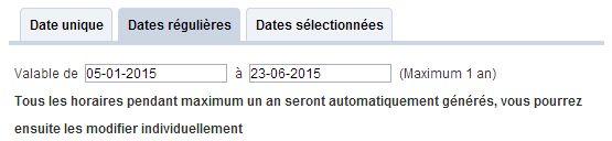 dates validitées des horaires