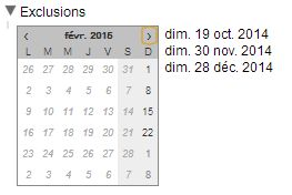 exclusion date dimanche