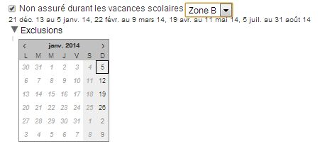 exclusions de cerrtaines dates