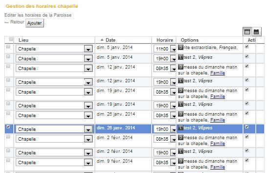 tableau de mise à jour des horaires