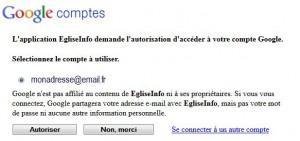 demande d'accès compte Google EgliseInfo
